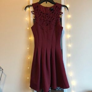 ASOS PETITE Red Wine Color Flared Dress